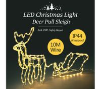 3D Christmas Reindeer Sleigh Light 10M LED Rope Fairy Xmas Decor Figure - Warm White