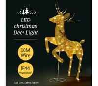 3D Christmas Reindeer Light 10M LED Rope Fairy Xmas Decor Figure - Golden