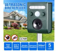 Ultrasonic Bird & Animal Repeller with Loudspeaker Alarm Solar Powered Pest Repeller