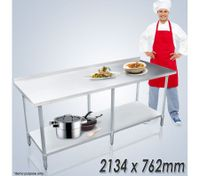 Stainless Steel Kitchen Work Bench & Food Prep Table (213cm x 76cm)