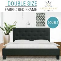 LUXDREAM  Charcoal Linen Bed Frame-Double