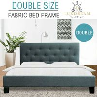 LUXDREAM  Grey Linen Bed Frame-Double