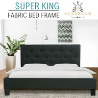 LUXDREAM  Charcoal Linen Bed Frame-Super King