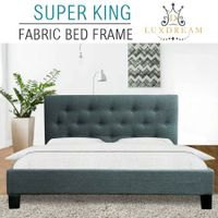 LUXDREAM  Grey Linen Bed Frame-Super King