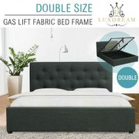 LUXDREAM Gas Lift Charcoal Linen Bed Frame-Double