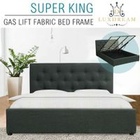 LUXDREAM Gas Lift Charcoal Linen Bed Frame-Super King
