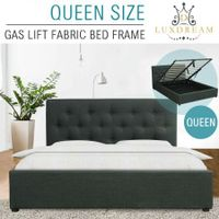 LUXDREAM Gas Lift Charcoal Linen Bed Frame-Queen