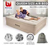 Bestway Air Bed Inflatable Queen Blow Up Mattress w/Built-in Pump & Travel Bag