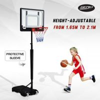 Genki Adjustable 1.65m-2.1m Portable Kids Basketball Hoop System Stand w/Cover