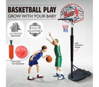 Adjustable 1.4m-1.9m Portable Kids Basketball Hoop System Stand  w/Cover