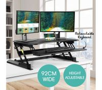 Sit Stand Desk 8 Position Adjustable Stand Up Workstation with Keyboard Tray & Slot - Black