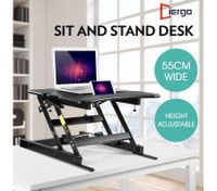 Sit Stand Desk 8 Position Adjustable Stand Up Workstation with Slot - Black