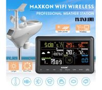Maxkon WIFI Wireless Home Weather Forecast Station Outdoor with Solar Charging Panel