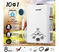 MAXKON 520L/Hr Portable 10 in 1 Outdoor Gas LPG Instant Shower Water Heater - White