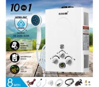 MAXKON 10 in 1 520L/Hr Portable Outdoor Gas Instant Camp Shower Water Heater-White