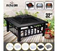 "Maxkon 32"" Fire Pit 3-in-1 Fireplace Brazier Patio Camping Heater w/Grill Shelf"