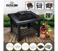"Maxkon 26"" Fire Pit 3-in-1 Fireplace Brazier Patio Camping Heater w/Grill Shelf"