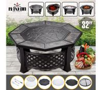 "Maxkon 32"" Fire Pit 4-in-1 Patio Camping Heater Fireplace Brazier w/Grill Shelf"