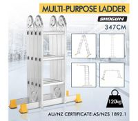 Certified Ladder Multipurpose Adjustable Aluminium Platform Step Ladder 12 Steps