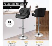 2 x PU Gas Lift Bar Stool Height Adjustable Kitchen Dining Swivel Chair - Black