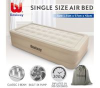 Bestway Single Air Bed 43cm Inflatable Blow Up Mattress w/Built-in Pump & Travel Bag