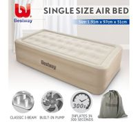 Bestway Single Air Bed 51cm Inflatable Blow Up Mattress w/Built-in Pump & Travel Bag