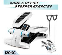 Mini Stepper Home Gym Exercise Workout Machine Fitness Equipment w/ Resistance Bands - Blue