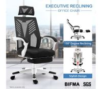 Executive High Back Office Computer Mesh Work Chair w/Retractable Footrest