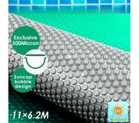 11M x 6.2M 500 Micron Solar Swimming Pool Cover Bubble Blanket- Green & Silver