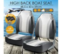 OGL 2 x High Back Folding Swivel Marine Fishing Boat Seats All-weather Chairs