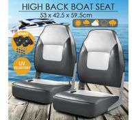 OGL 2 x High Back Folding Marine Fishing Boat Seats All-weather Swivel Chairs