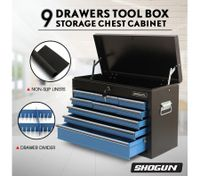 SHOGUN Tool Chest 9-Drawer Rust Resistant Storage Cabinets with Lock - Blue and Black