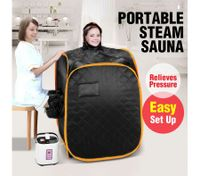 2-Person Pop-Up Sauna Tent Remote-Controlled Portable Home Body Steamer w/ Hat