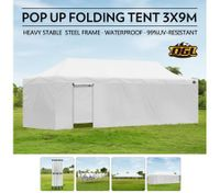 OGL 3x9M Pop up Outdoor Gazebo Folding Tent Waterproof Marquee Canopy Party Wedding Tent - White