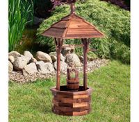 Outdoor Garden Wishing Well Wooden Timber Backyard Decor Rustic Planter Flower