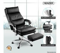 Executive Office Chair Ergonomic Reclining PU Leather Computer Seat w/Footrest