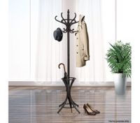 Coat Stand with 12 Hooks - Tree Style with Base Ring for Umbrellas - Walnut