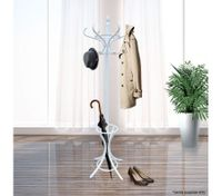 Coat Stand with 12 Hooks - Tree Style with Base Ring for Umbrellas - White
