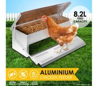 8.2L Automatic Chicken Feeder Poultry Chook Treadle Feeding Trough
