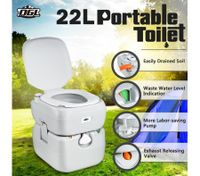 22L Portable Toilet Outdoor Camping Caravan Marine Motorhome RV Potty - Grey