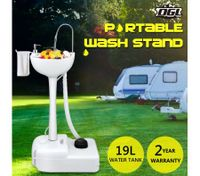 19L Portable Camping Basin Sink Hand Wash Stand Wheel Water Tank for Outdoor Trip - Gray