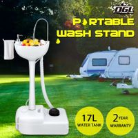 17L Portable Camping Basin Sink Hand Wash Stand Wheel Water Tank for Outdoor Trip - Gray
