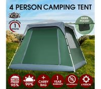 OGL 4 Person Hiking Camping Beach Easy Up Outdoor Waterproof Tent w/Carry Bag