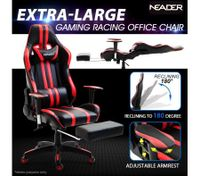 Racing Gaming Office Chair PU Leather Computer Seat w/Adjustable Headrest & Footrest