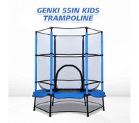 "Genki 55"" Kids Mini Round Trampoline Indoor Outdoor Rebounder w/ Enclosure & Safety Net"