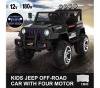 Kids Electric Car Remote Control Ride on Truck Jeep Off Road w/Built-in Songs - Black