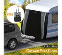 Caravan Front Cover Waterproof Towing Window Protection Universal w/Carry Bag - 216 x 192cm