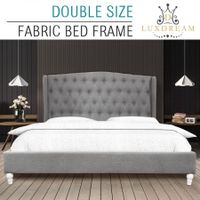 LUXDREAM Wooden Double Upholstered Platform Bed Frame with Wooden Slats