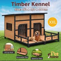 XXL Wooden Dog Kennel 2 Door All-Weather Flat Roof Pet House w/Patio - Black