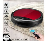 Maxkon Robot Vacuum Cleaner LED Touch Display w/Mop & Water Tank Strong Suction for Short Carpet - Red